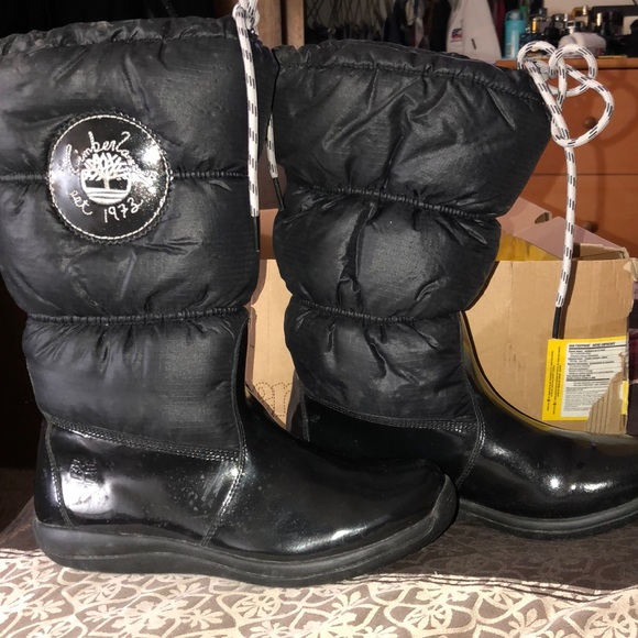 20078c11ec4 Timberland Shoes | Black Patent Leather Boots Sz 55 | Poshmark